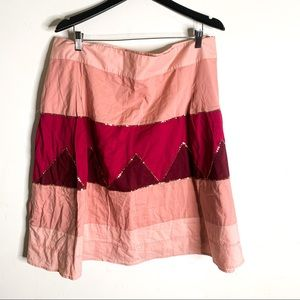 Old Navy Skirt Pink Color Block Sequin Cotton